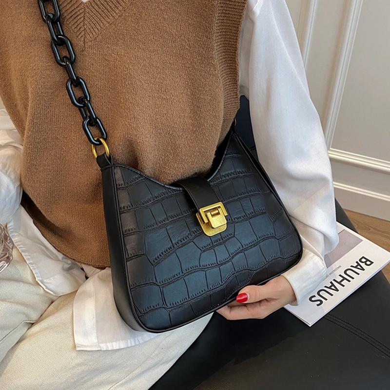 Bolso Hobo con diseño de piedra negra para mujer, bandolera de cuero Pu Vintage con cadena y cierre, 2020