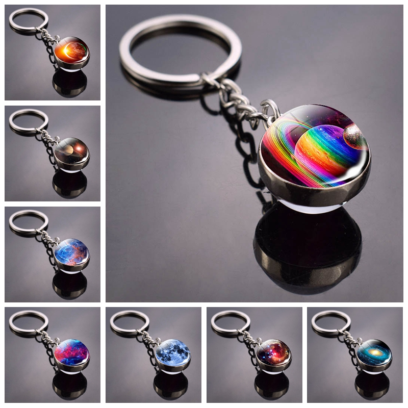 2019 New Glass Ball Galaxy Nebula Double Sided Glass Ball Keychain Universe Planet Picture Glass Key Chain Rings Astronomy Gift