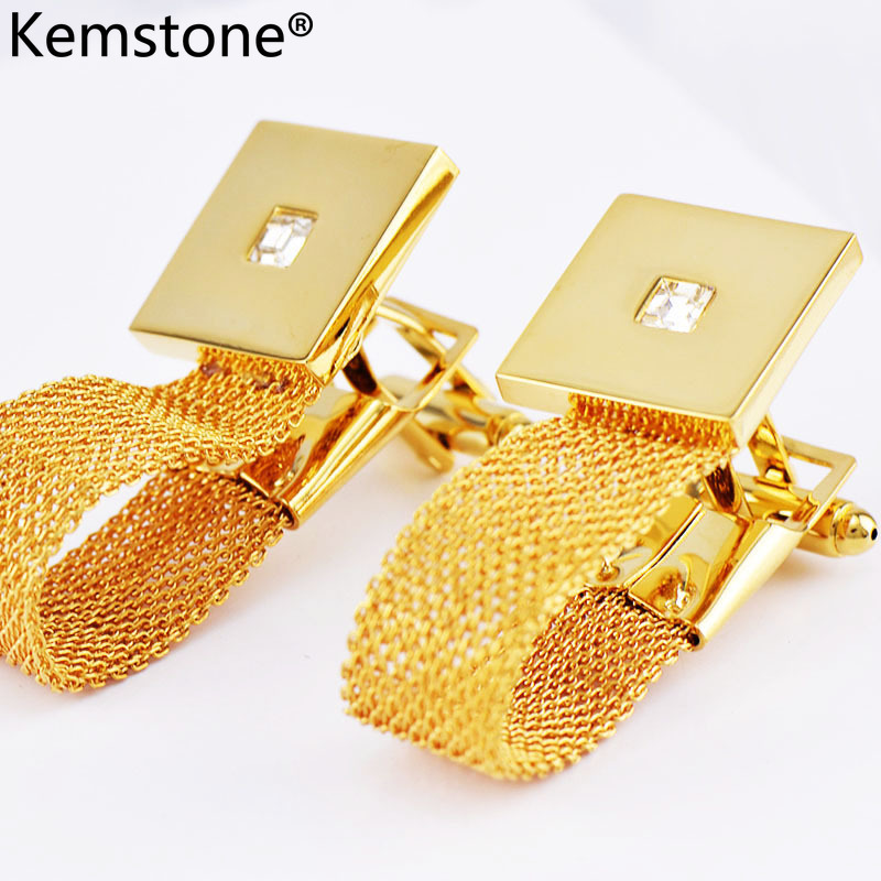 Kemstone Luxury Gold Color Chain Cufflinks With Crystal Men's Cuff - Fashion Jewelry - Photo 2