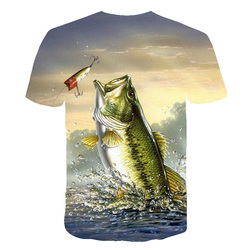 3D printed fish pattern men and women casual T-shirt Fashion trend youth cool men's t-shirt Hip hop short sleeve T-shirt