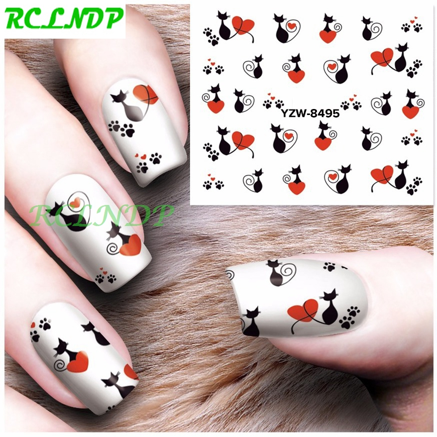 Water Sticker For Nails Art Decoration Sliders Lovely Cats Footprint Stickers Adhesive Nail Design Decals Manicure Accessoires