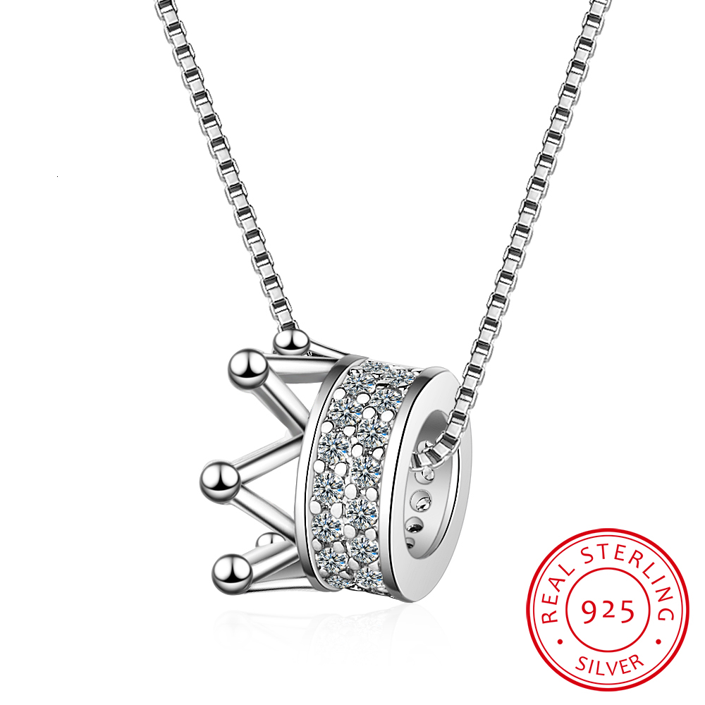 925 Sterling Silver Zircon Crown Necklace Two Colors Queen Wind Cavicle Chain For Women S-n311
