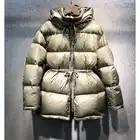 Роскошный брендовый зеленый пуховик с поясом, женский зимний пуховик 2019, повседневное плотное шерстяное пальто с капюшоном на утином пуху - 2