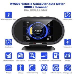 Image 3 - KONNWEI KW206 OBD2 Scanner Car Digital On Board Computer LCD Display Fuel Consumption Water Temperature Gauge Speedometer HUD
