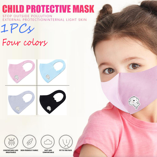 Kids Boys Girls Cotton Washable Face Mask Adjustable Filter Cartoon Children Mouth Mask Dustproof Windproof Mouth Mask