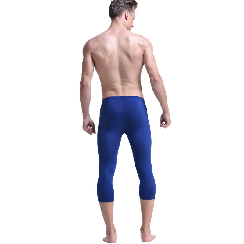 011qfk Men Healthy Beauty Swimming Trunks Ban Guang Bu Pool Sports Casual Capri Pants Fitness Moderate Elasticity