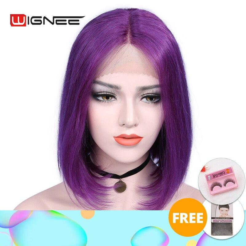 Wignee Lace Part Short Straight Hair Purple Bob Human Hair Wig For Black/White Women Brazilian Remy Hair Glueless Lace Human Wig