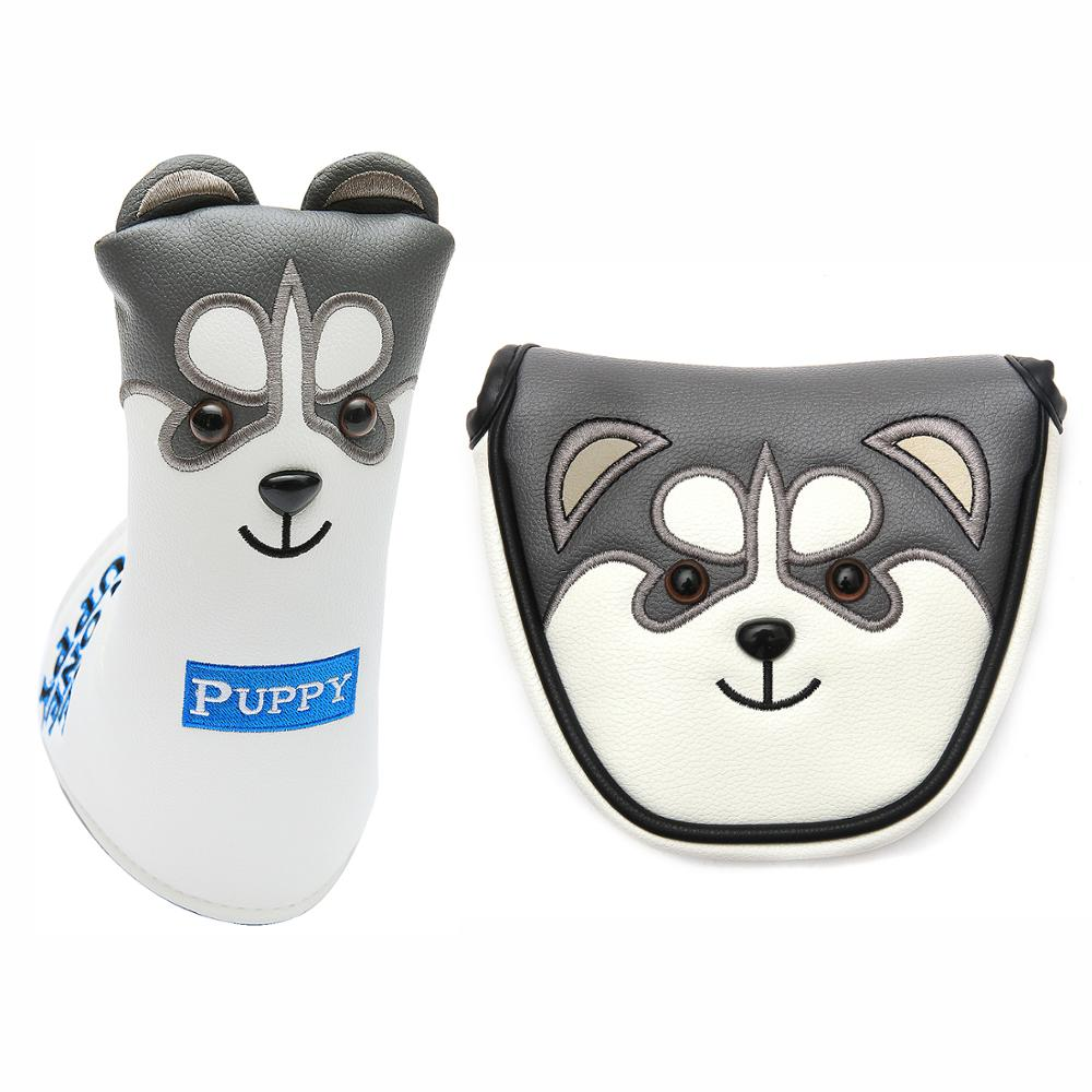 New Golf Putter Headcover PU Leather Dustproof Lovely Husky Animal Head Cover For Putter