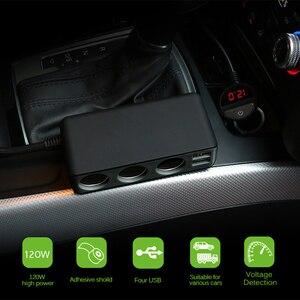 Image 5 - Chargeur de voiture 4 ports USB 6.8A chargeur USB voltmètre avec 3 voies voiture allume cigare prise répartiteur 120W adaptateur secteur chargeur