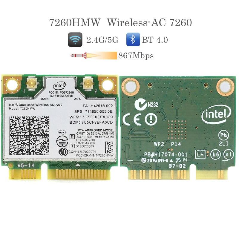 Banda dupla sem fio-adaptador ac 7260ac 7260hmw mini cartão sem fio pci-e 2.4g/5g wifi + bluetooth 4.0 para dell/sony/acer/asus