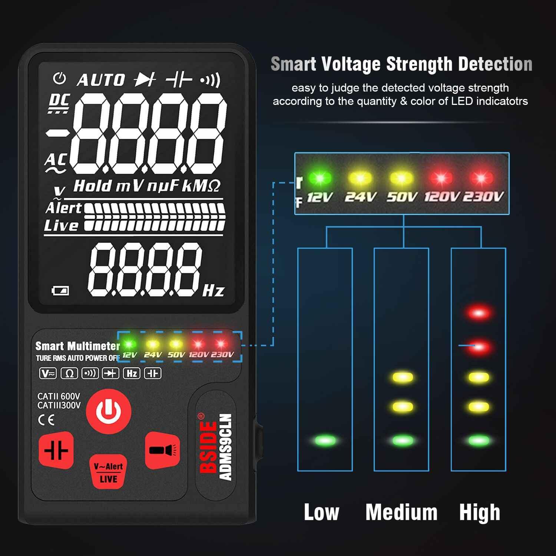 "BSIDE アップグレードマルチメータデジタル電圧テスター 3.5 ""EBTN 液晶 3 行表示 TRMS オーム Hz アナログバー & 5 LED インジケータ DMM"