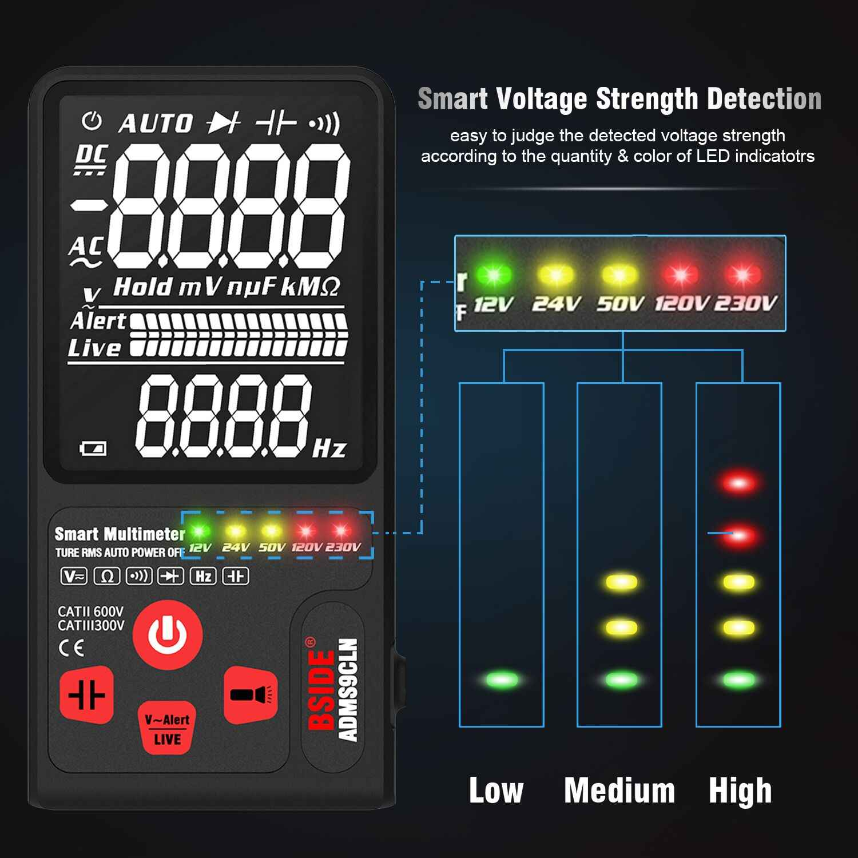 """BSIDE Aggiornato Multimetro Digitale Tester di Tensione 3.5 """"EBTN LCD 3-Linea di Visualizzazione TRMS Ohm Hz con Analogico Bar e 5 Indicatore LED DMM"""