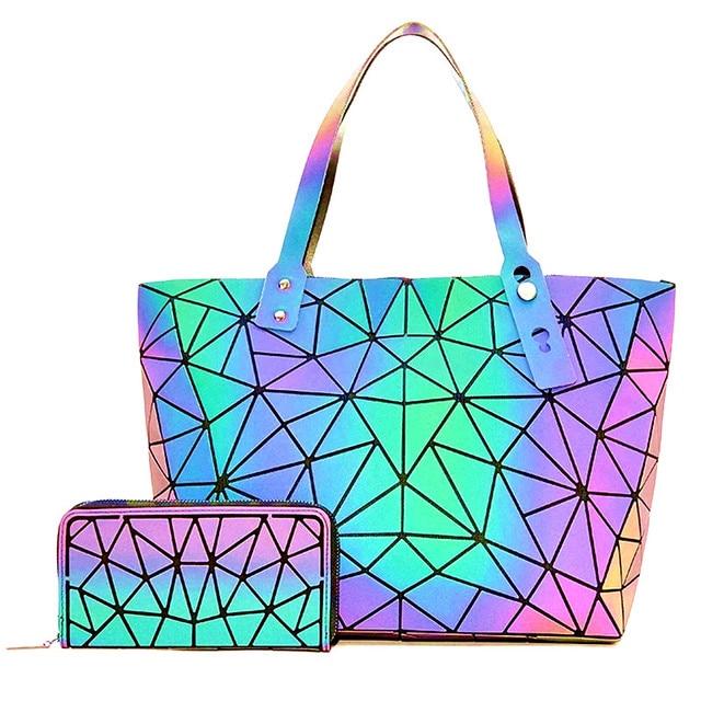 Big Crossbodyกระเป๋าสำหรับผู้หญิงกระเป๋าแฟชั่นชุดและกระเป๋าถือสีส่องสว่างDesigner Totes Holographic Bolsas