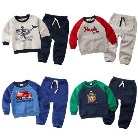 2020 primavera inverno criancas engrossar roupas terno do bebe meninos meninas mais veludo hoddies t