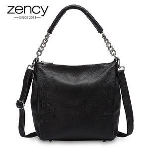 Женская сумка Zency, черная, из 100% натуральной кожи, через плечо