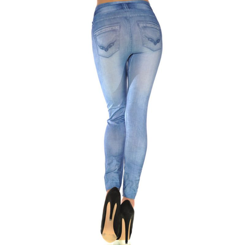 Hb1a7e00f723f42faa162af7126b97aa4s Women Vintage Wash Color Denim Print Leggings Low Rise Stretchy Pencil Pants Seamless Ankle Length Skinny Fake Jeans Tights