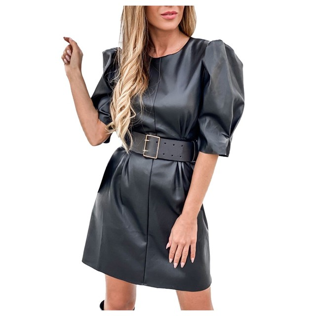 Leather Dress Women's Casual Round Neck