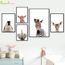 Cartoon Animals Elephant Wall Art Canvas Painting Zebra Nordic Poster Deer Wall Pictures For Living Room Home Decor Unframed цены онлайн