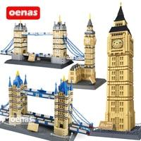 Compatible Legoing Architecture Landmark London Elizabeth Tower Big Ben Tower Bridge Model Building Block Bricks kids Toy Gift