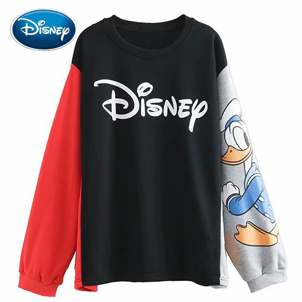 Disney Letter Donald Duck Cartoon Print Women Sweatshirt Contrast Color O-Neck Pullover Long Sleeve Harajuku Streetwear Tops