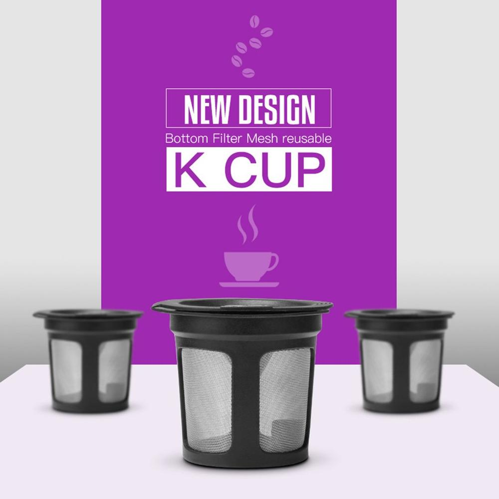 3Pcs Refillable Coffee Filter Mesh Capsules K Cup Baskets Reusable Dripper For Keurig 2.0 Coffee Machine Accessories