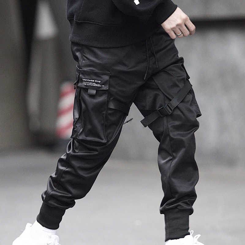 Men's Cool Black Hip Hop Cargo Pants Full Length Elastic Waist Jogger Trousers Sweatpants With Pockets Casual Streetwear
