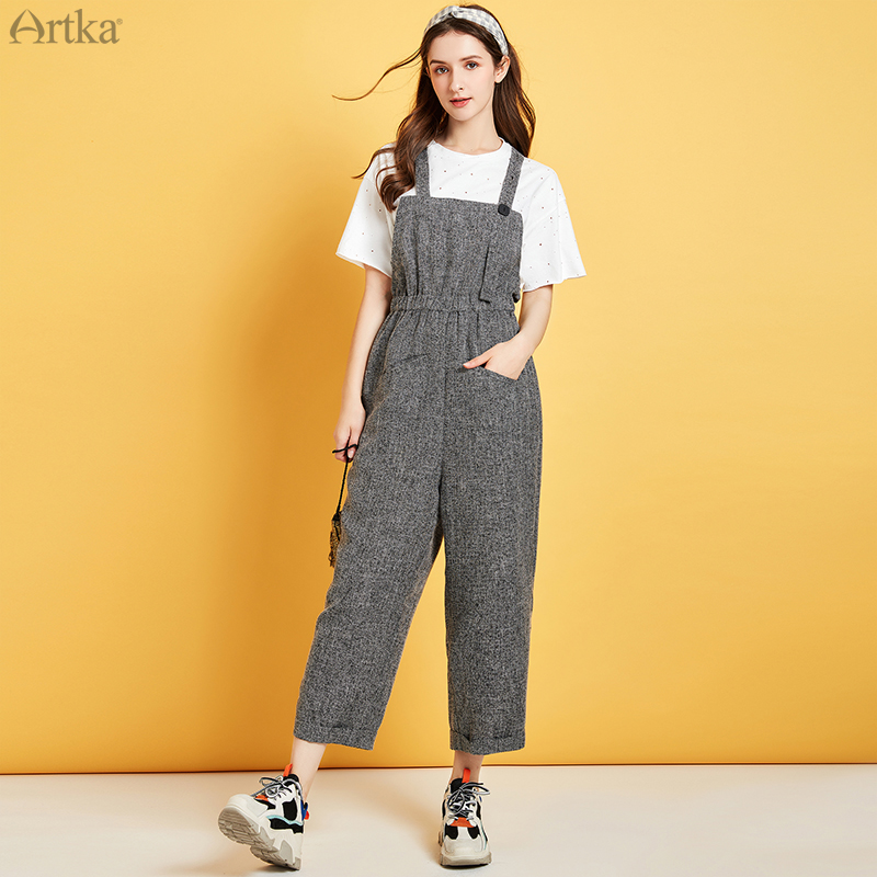 ARTKA 2020 Spring New Women Jumpsuit Fashion High Waist Wide Leg Casual Pants Elastic Waist Rompers Womens Jumpsuit KA25100X image