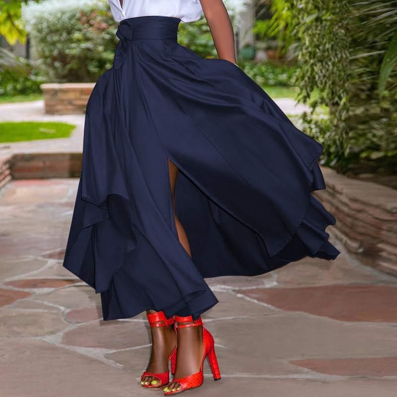 ZANZEA Fashion Irregular Skirts Holiday Zipper High Waist A Line Skirts 5XL Womens Summer Long Skirts Vintage Beach Solid Skirts