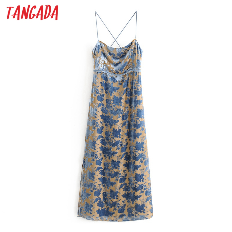 Tangada Women Floral Velvet Party Dress Lace Up Strap Sleeveless Backless Females Long Dresses Vestidos 3H597