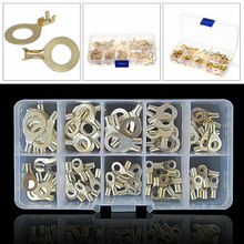 150PCS Ring Cable Lug Battery Cable Ends Bare Copper Eyelets Tubular Ring Terminal Connectors Kit Home цена
