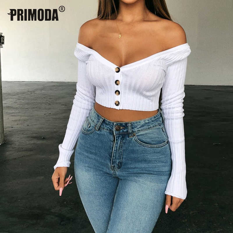 2019 Nieuwe Sexy Tops Vrouwen Slash Hals Knoppen Navel Korte Crop Tops Shirts Night Club Party Dunne Solid Tees Wit t-shirt PR757G