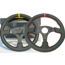 Car Steering-Wheel Racing-Sport Genuine-Leather 330mm Flat Universal 13''