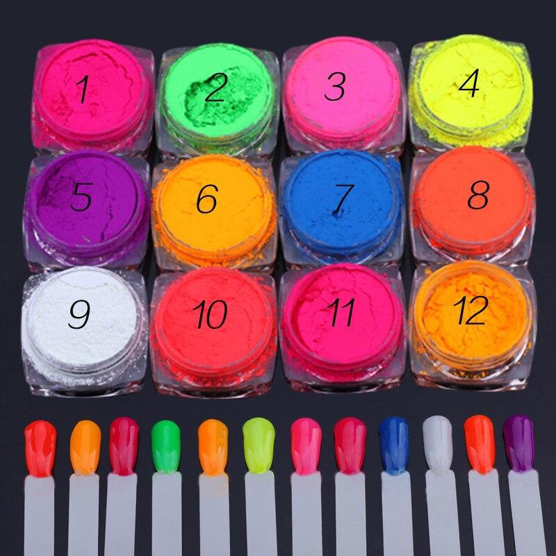 Неоновая пудра для ногтей, тени для век, 12 коробок в партии, эффект флуоресценции, блестящий пигмент для ногтей, хромированная пыль, сделай с...
