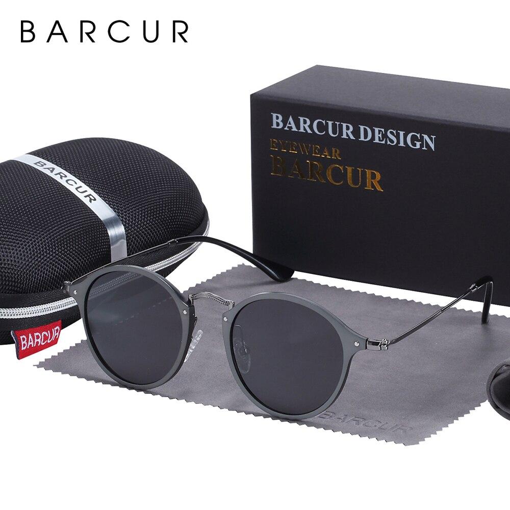 BARCUR Round Sunglasses Women Steampunk Sunglasses Polarized Woman Sunglases Retro Oculos Masculino