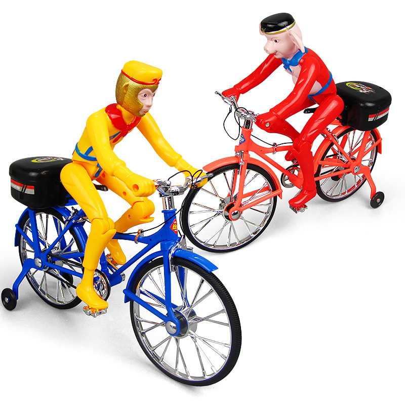Electric Toy Car With Light And Music Pig Sun Wukong Walking Bicycle CHILDREN'S Toy Stall Hot Selling