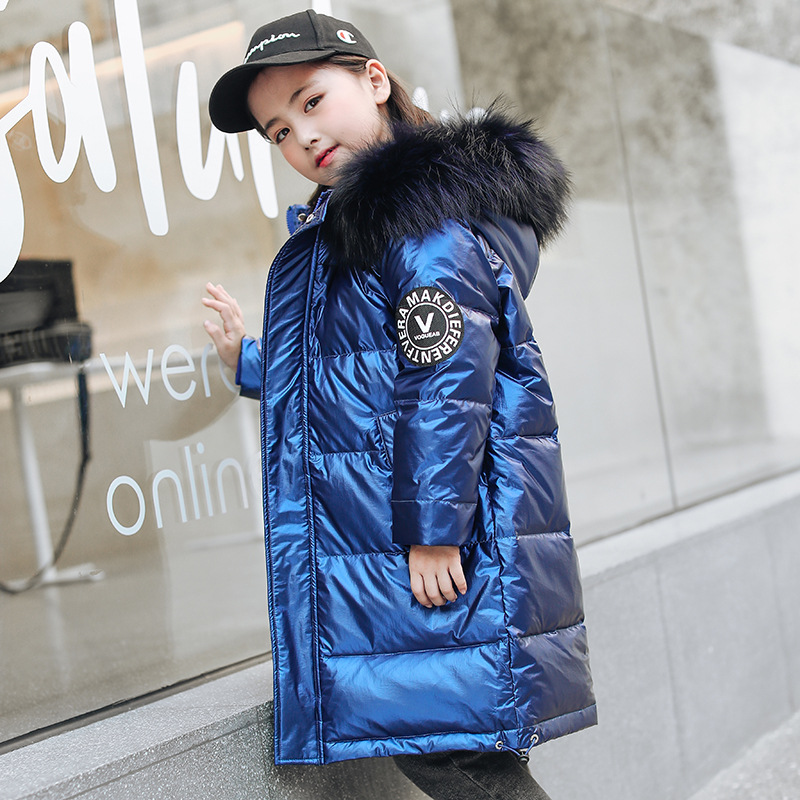 Kids Thick Warm Duck Down Jackets Coat Winter Boys Clothes Children Parka Real Fur Long Hooded Outerwear Overcoat