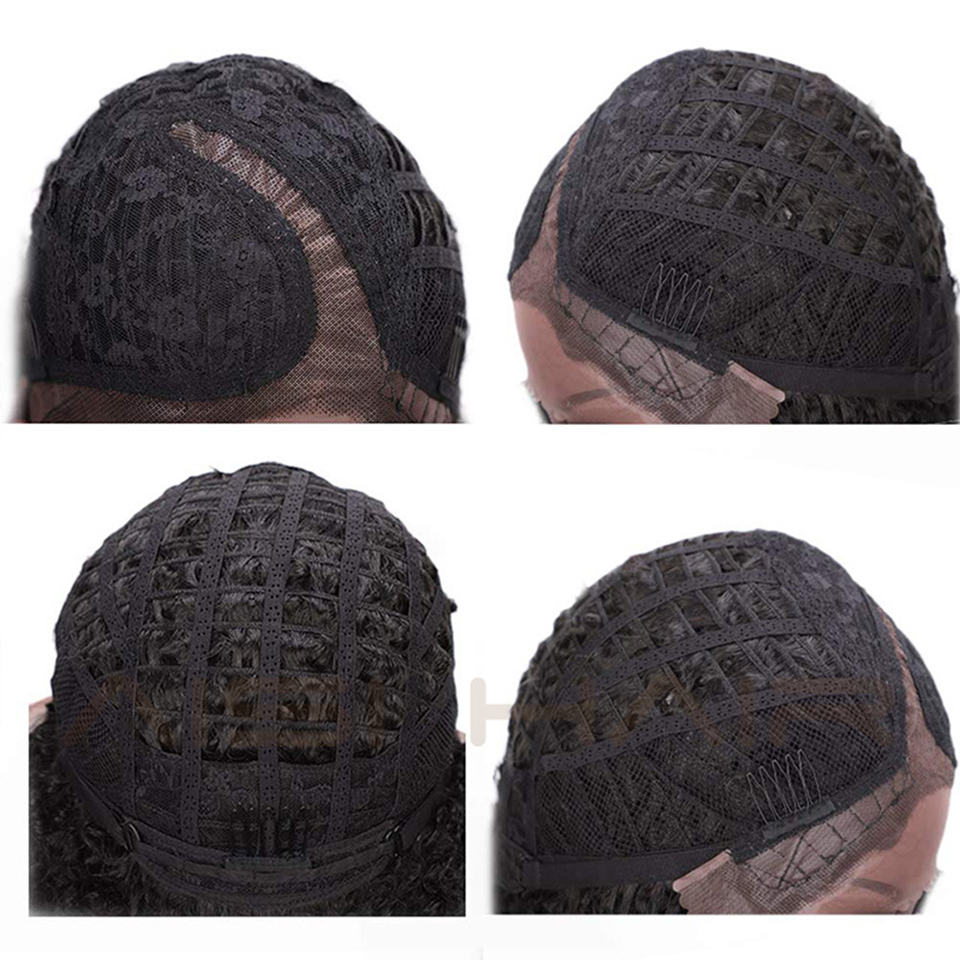 Image 4 - AISI HAIR Short Afro Kinky Curly Wig Synthetic Black Lace Front Wigs for Black Women Side Part Hair Heat Resistant Fiber Wigs-in Synthetic Lace Wigs from Hair Extensions & Wigs