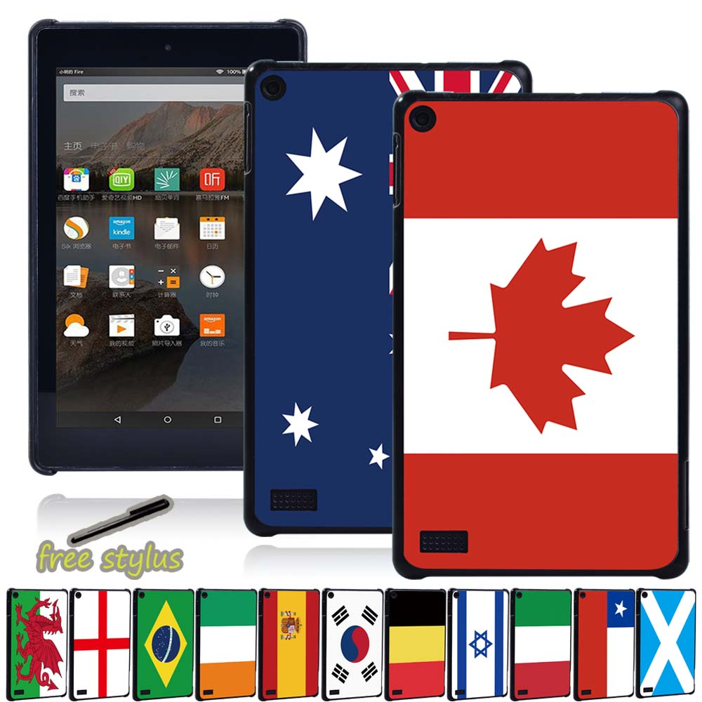 Flag Patterns Tablet <font><b>Case</b></font> for <font><b>Amazon</b></font> Fire 7 (5th/7th/9th Gen)/Fire HD 8(2016/2017/2018)/Fire HD <font><b>10</b></font>(2015/2017/<font><b>2019</b></font>) with Alexa image