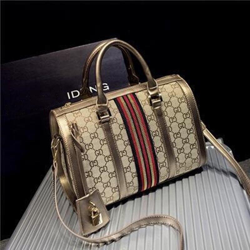 2020 New European And American Fashion Boston Women's Bag Fashion Single Shoulder Messenger Bag Canvas Handbag