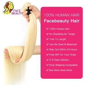 Image 3 - Facebeauty 613 Blonde 1/3/4 Brasilianische Haar Bündel Gerade Webart Remy Menschenhaar Schuss 26 28 30 32 34 36 38 40 zoll Freies Verschiffen
