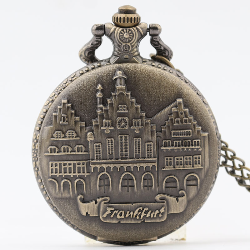Pocket & Fob Watch Bronze Buildings Design Quartz Pocket Watch  Necklace Pendant Watch Chain Xmas Gift Relogio De Bolso