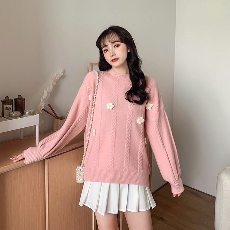 Sweater Women Harajuku Japanese Autumn 2020 New Thick Knitted Long Sleeve Embroidery Flowers Pullovers Loose Lovely Fashion Tops