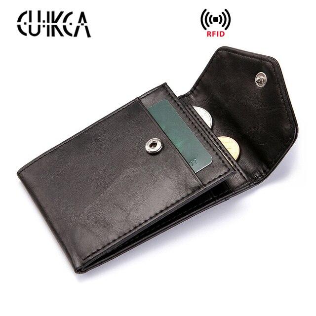 Мужские ультратонкие кожаные кошельки с RFID защитой от мошенников