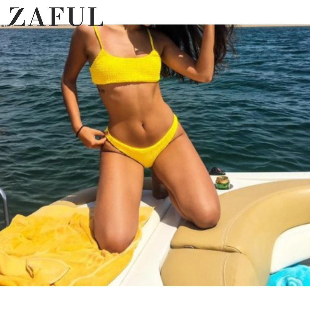 ZAFUL Cami Smocked Bikini Top And Bottoms Spaghetti Straps Solid Swim Suit Elastic Low Waisted Bathing Women Summer 2Pieces Sets