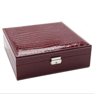 Image 5 - Шкатулка для ювелирных украшений с зеркалом, модный двухслойный чехол для драгоценностей, кожаный держатель для колец с крокодиловым узором