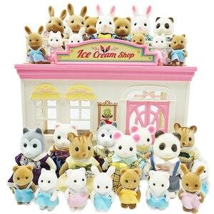 Children's Simulation Forest Animal Family 1:12 Scale Dollhouse Furniture Miniature 1/12 Rabbit Bear Panda Girl Pretend Play Set