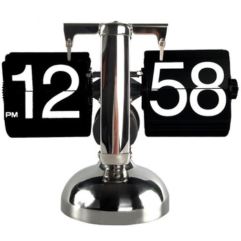 Small Scale Table Clock Retro Flip Over Desk Clocks Stainless Steel Flip Internal Gear Operated Quartz Clock