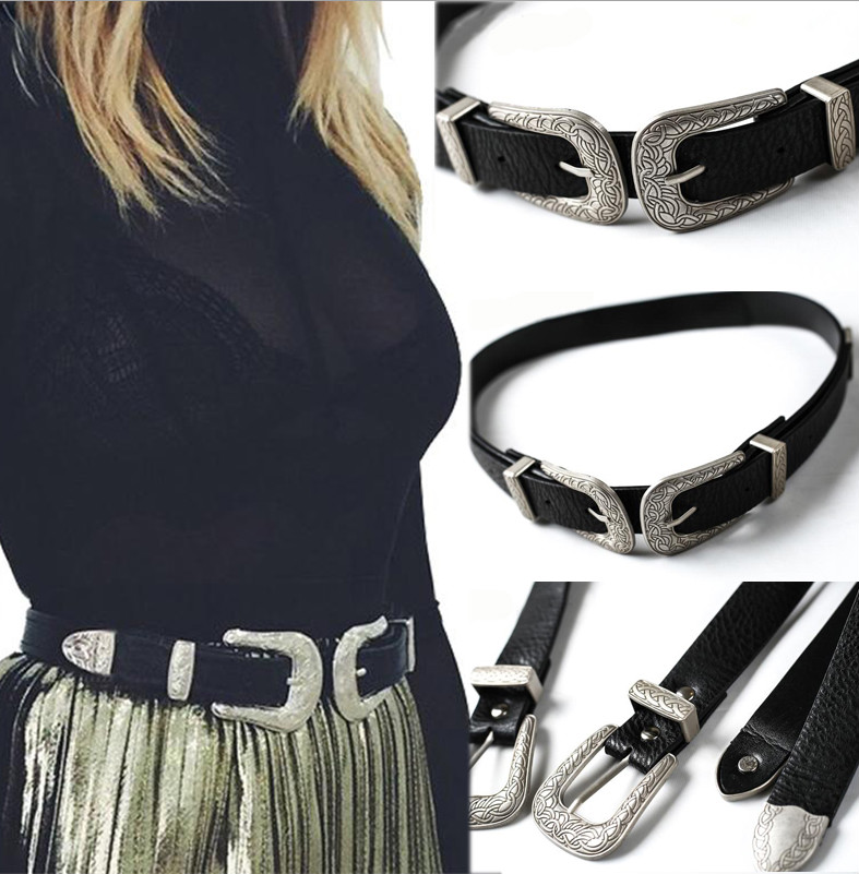 Brand New Fashion Women Lady Vintage Boho High Quality Metal Leather Double Buckle Waist   Belt   Waistband