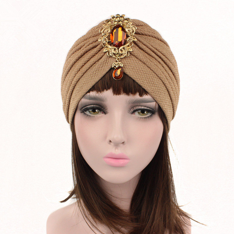 Solid Color Crystal Stretch Turban Ruffle Hair Hats Beanie Bandanas Scarf Head Wrap Headwear For Women 63