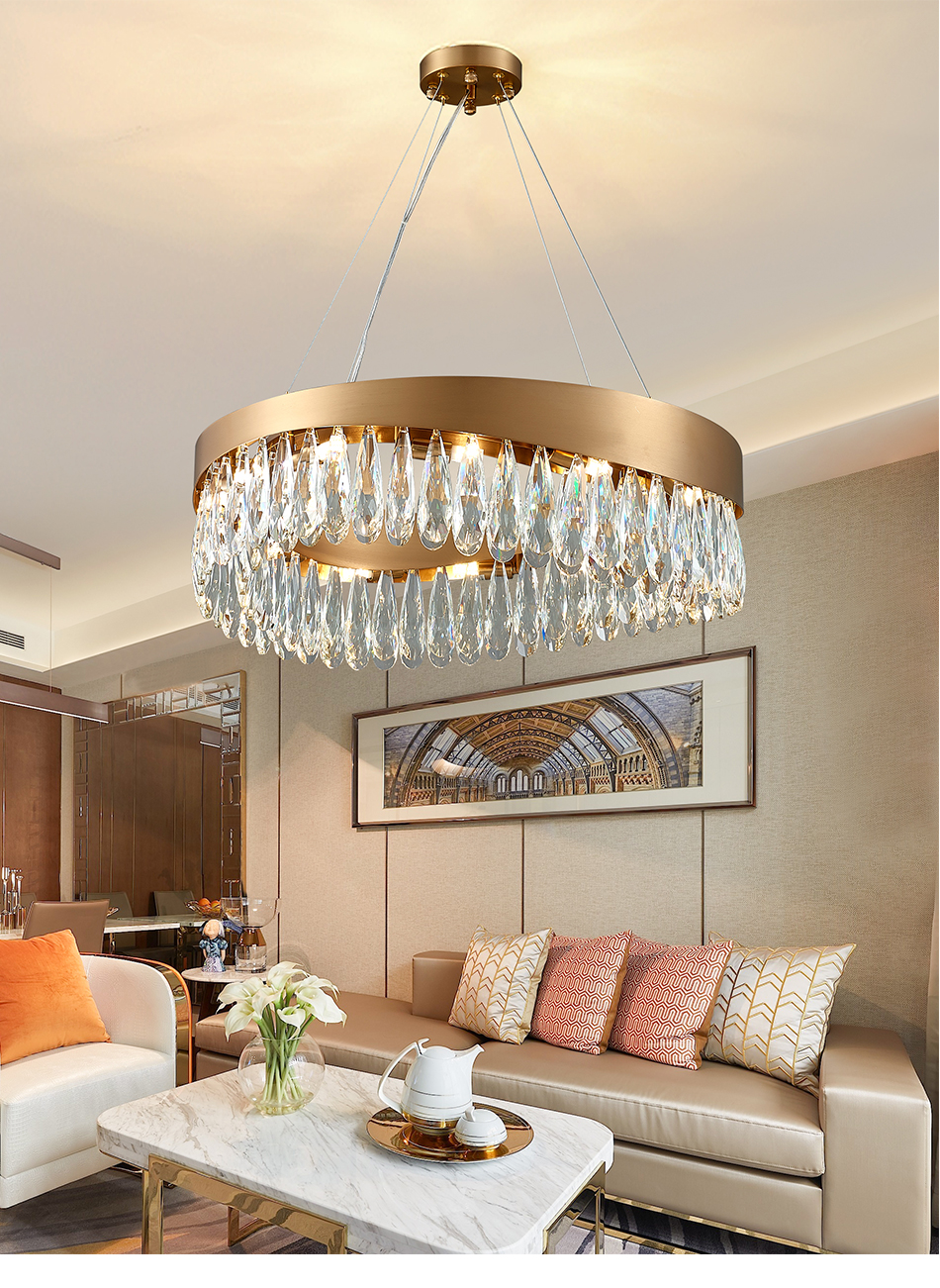 Baru Lampu Gantung Modern Untuk Ruang Tamu Mewah Kamar Tidur Bulat Gold Lampu Kristal Stainless Steel Led Lampu Gantung Perlengkapan Chandelier Aliexpress